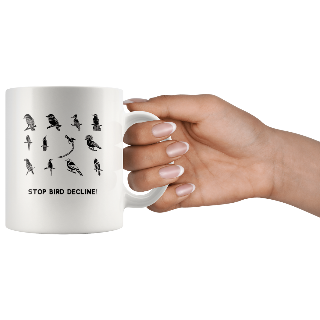 Stop bird decline mug -- for birdwatchers and bord lovers