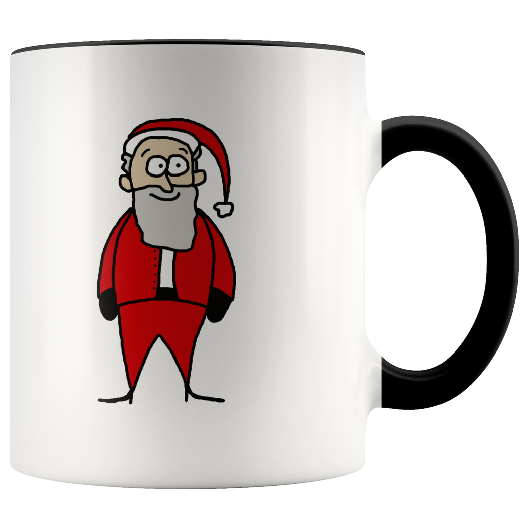 Whimsical Santa cartoon mug -- Merry Christmas