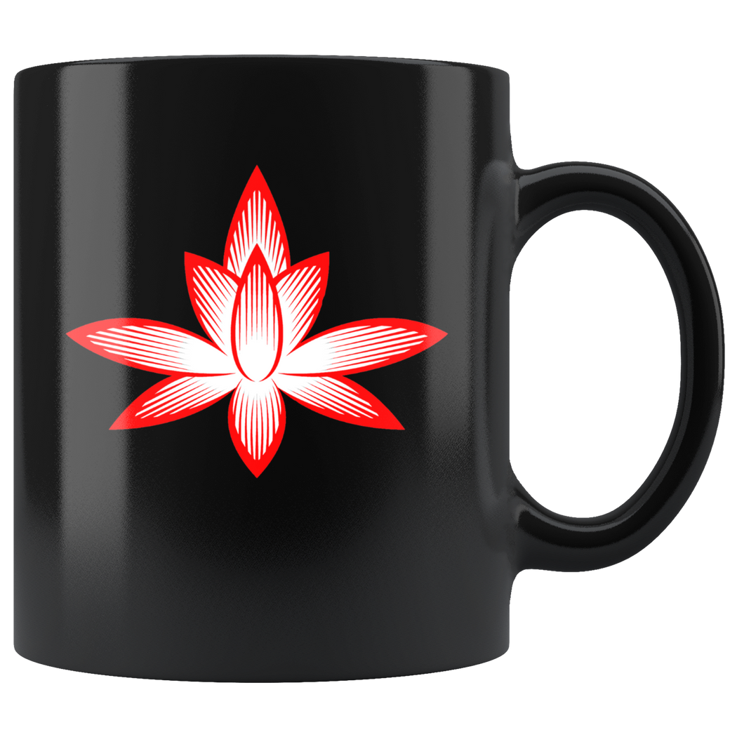 Stylized lotus – meditation and yoga mug (red and black)