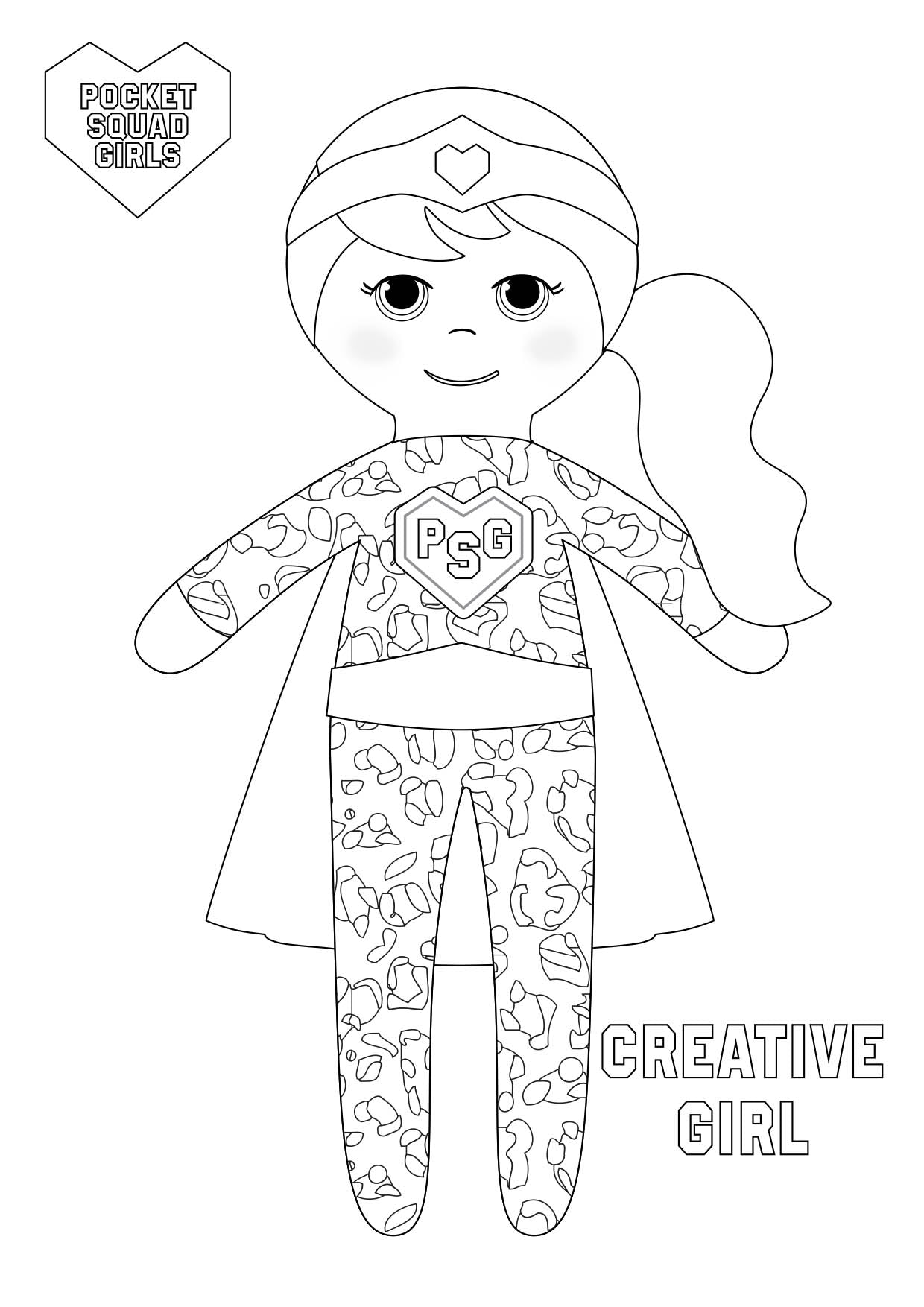 Pocket Squad Girls Creative Girl colouring-in PDF