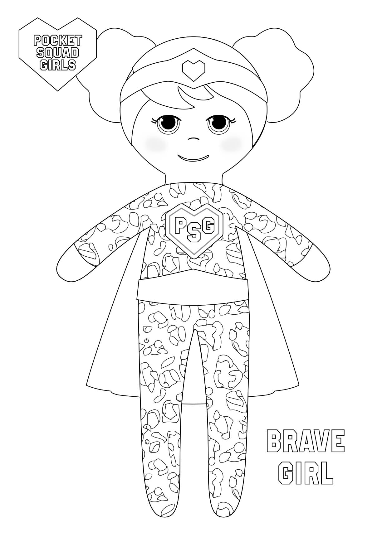 Pocket Squad Girls Brave Girl colouring-in PDF