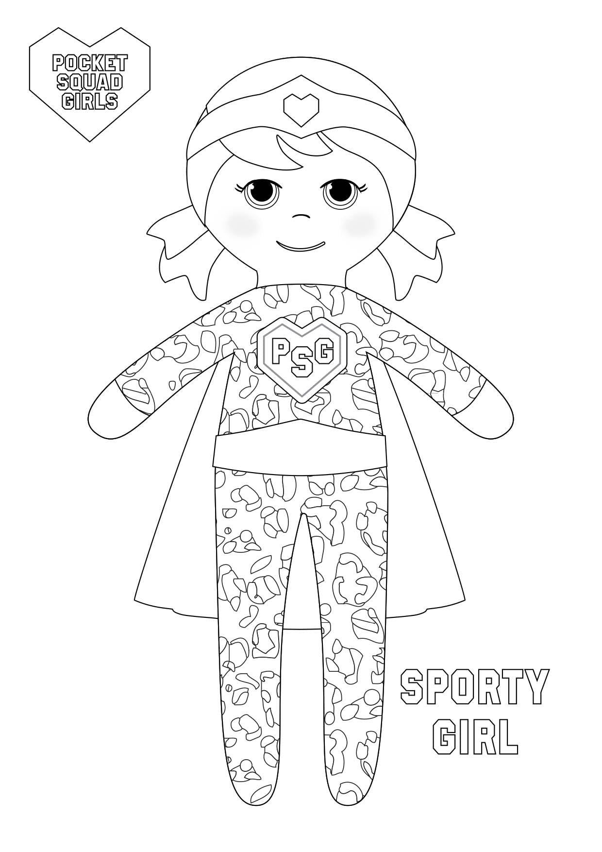 Pocket Squad Girls Sporty Girl colouring-in PDF