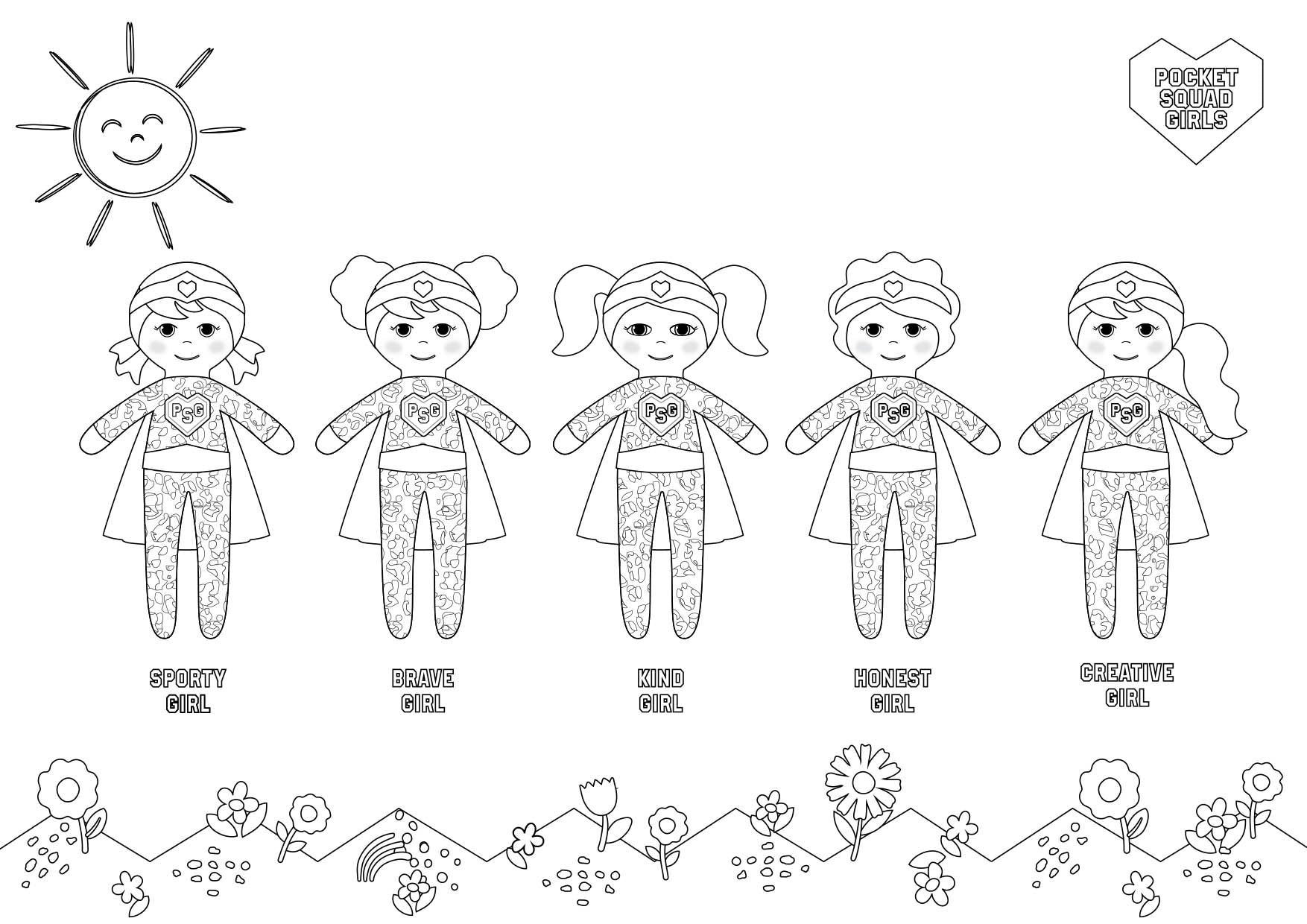 Pocket Squad Girls AW2020 Squad colouring-in PDF