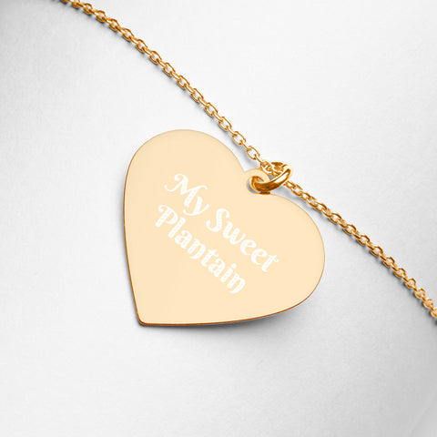 """My Sweet Plantain"" Engraved Silver Heart Necklace"