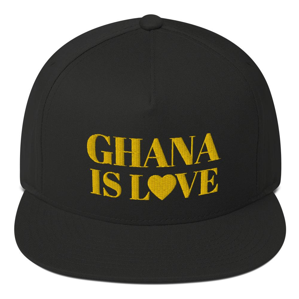 """Ghana Is Love"" Flat Bill Cap"