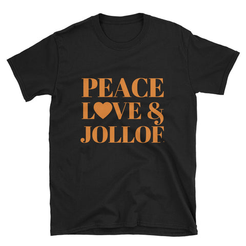 Peace Love and Jollof T-Shirt from www.peaceloveandtshirtstore.com