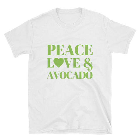 Peace, Love & Avocado Short-Sleeve Unisex T-Shirt