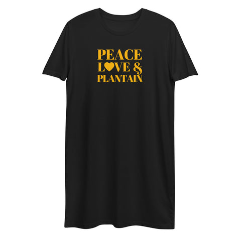 """Peace, Love & Plantain"" Organic cotton t-shirt dress"