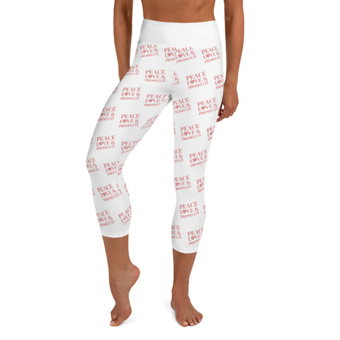 """Peace, Love & Prosecco"" Yoga Capri Leggings"