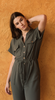 Abby Utility Inspired Button Up Jumpsuit With Pockets