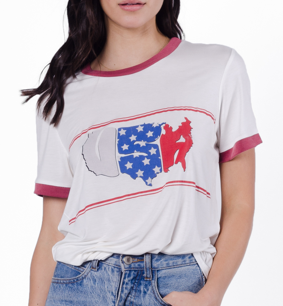 USA Women's Short Sleeve Ringer Graphic T-Shirt