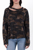 Lena Distressed Camo Sweater