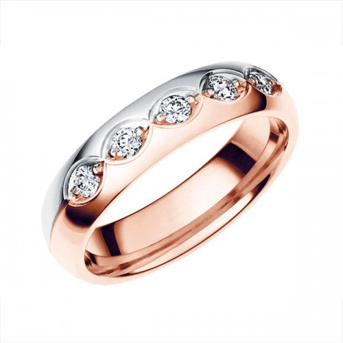 Vigselring Schalins Sofia Allians 18k Rosé/vitguld WVS diamanter 0,25 ct