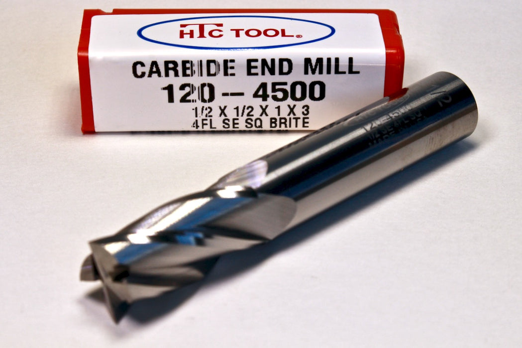 """HTC 1//2/"""" Solid Carbide End Mill Single End Square Standard Length 4 Flute DIA"""