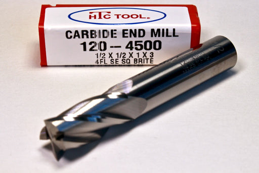 """Single End Square HTC USA 21//32/"""" Solid Carbide End Mill 4 Flute Standard Leng"""