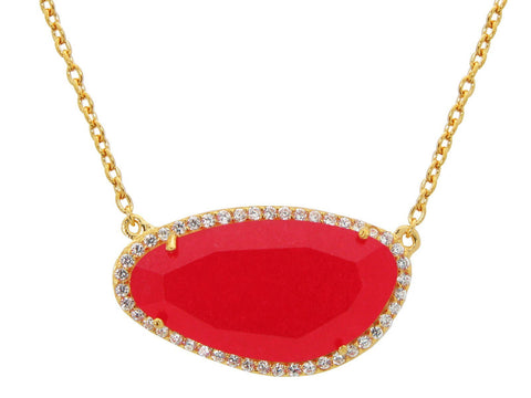 Gold Plated Sterling Silver Red Jade Slice Stone