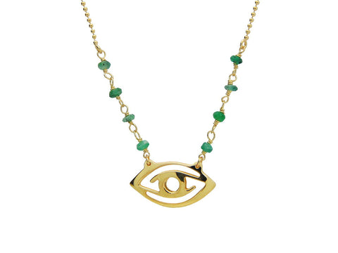 Green Jade Golden Evil Eye Necklace