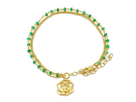 Green Jade Golden Rose Bracelet