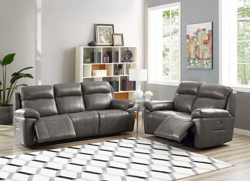 Atticus Top Grain Leather Power Recline Sofa Set, Headrest and Lumbar