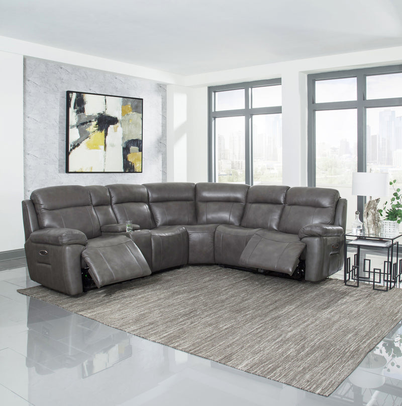 Atticus 3-piece Leather Sectional with Power Recline, Headrest and Lumbar