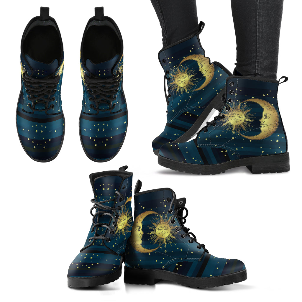 Blue Sun and Moon Handcrafted Boots