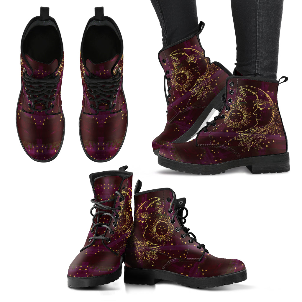 Maroon Sun and Moon Handcrafted Boots
