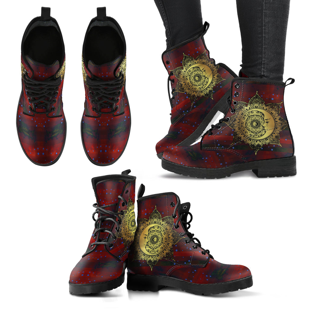 Red Sun and Moon Leather Boots