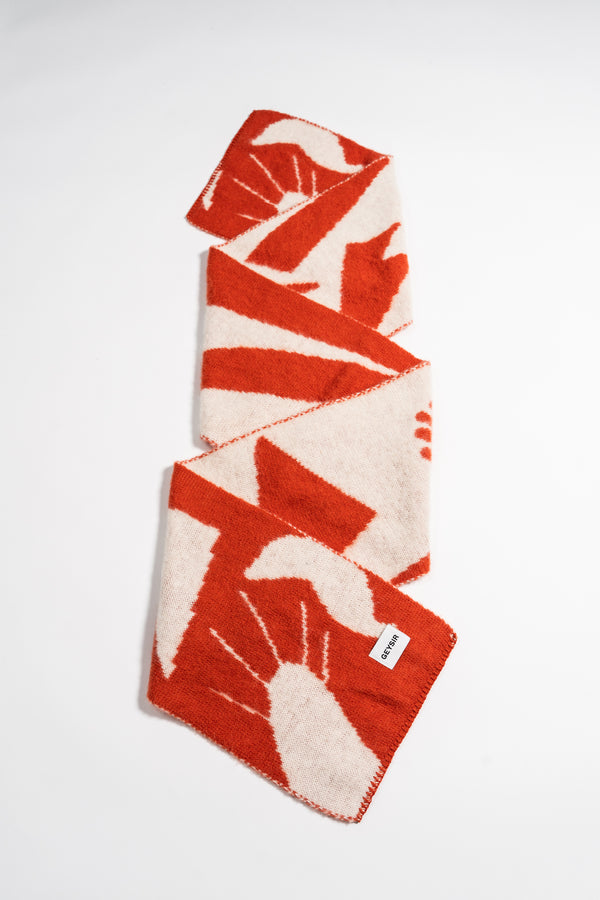 Load image into Gallery viewer, Form Scarf — Coral & White