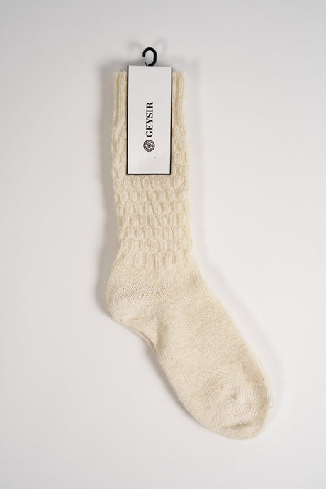 Square Knit — White Wool Socks