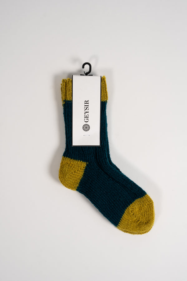 Load image into Gallery viewer, Two Color Kids Socks  —  Turquoise