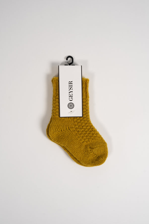 Load image into Gallery viewer, Pearl Knit Kids Socks  — Citrine
