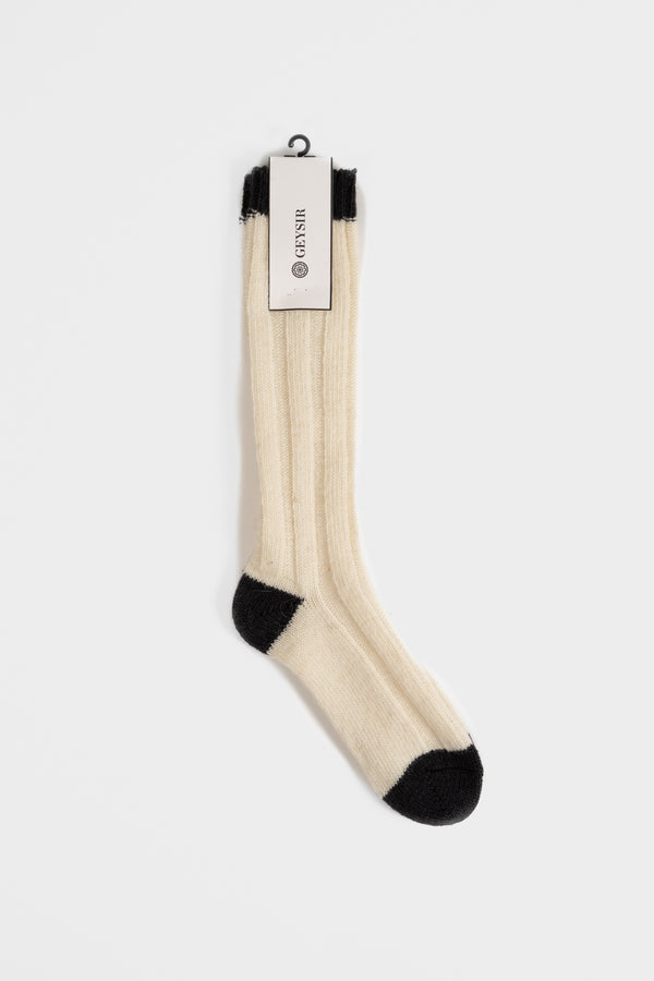 Load image into Gallery viewer, Two Color Wool Socks  —  White