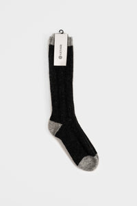 Two Color Wool Socks  —  Black