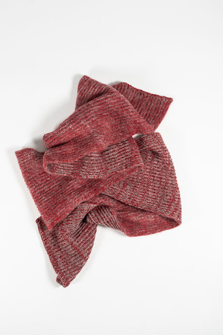 Funi Wool Scarf — Red & Grey