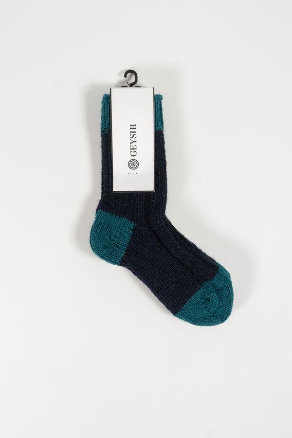 Load image into Gallery viewer, Two Color Kids Socks  —  Navy
