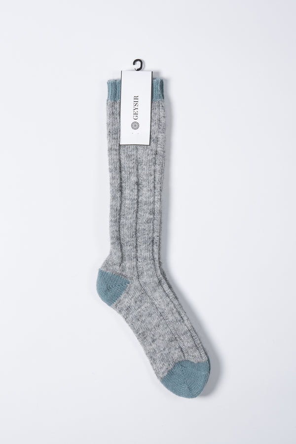 Load image into Gallery viewer, Two Color Wool Socks  —  Grey