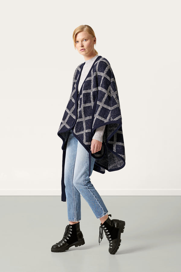 Load image into Gallery viewer, Tígla navy — Icelandic Wool Cape