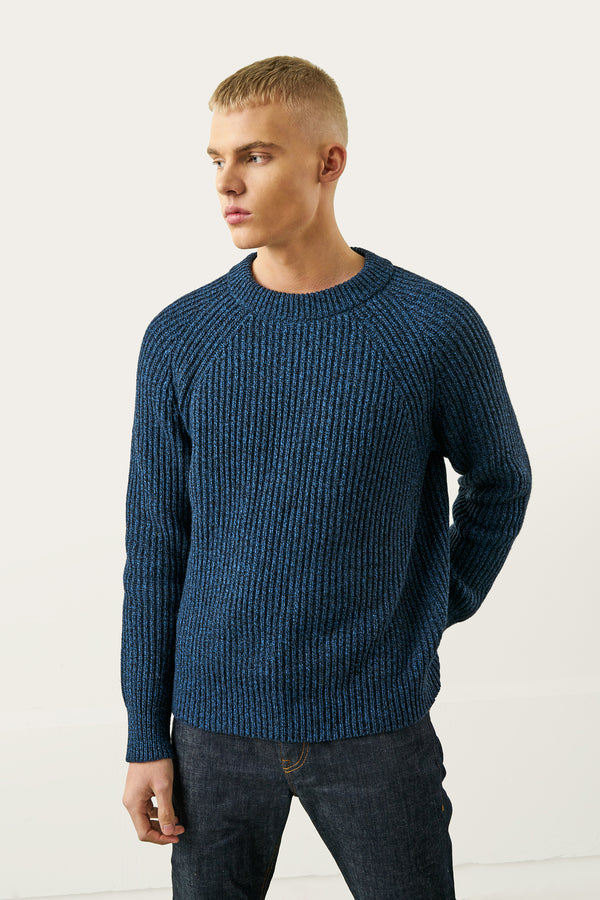 Load image into Gallery viewer, Birnir Wool Sweater — Midnight Blue