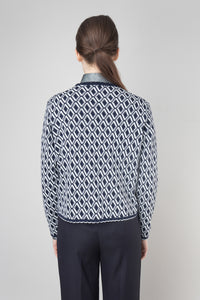 Halla Sweater — Navy & White