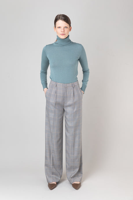 Ylfa Trousers — Beige Check