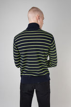 Load image into Gallery viewer, Ari Merino Sweater — Navy Neon Stripe
