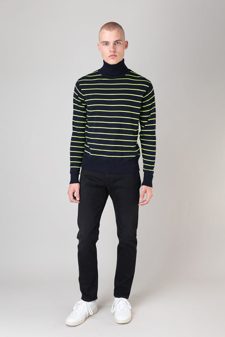 Ari Merino Sweater — Navy Neon Stripe