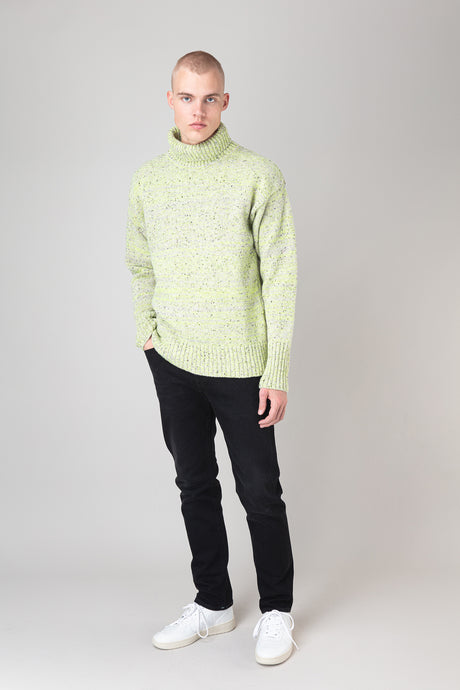 Arnar Wool Sweater — Grey Neon Melange