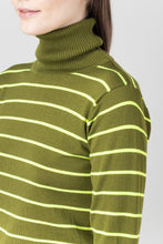 Load image into Gallery viewer, Eir Merino Wool Top — Neon // Olive