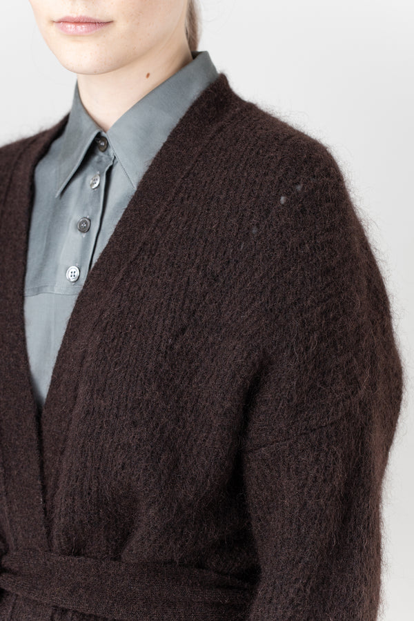 Load image into Gallery viewer, Eyja Mohair Cardigan — Brown