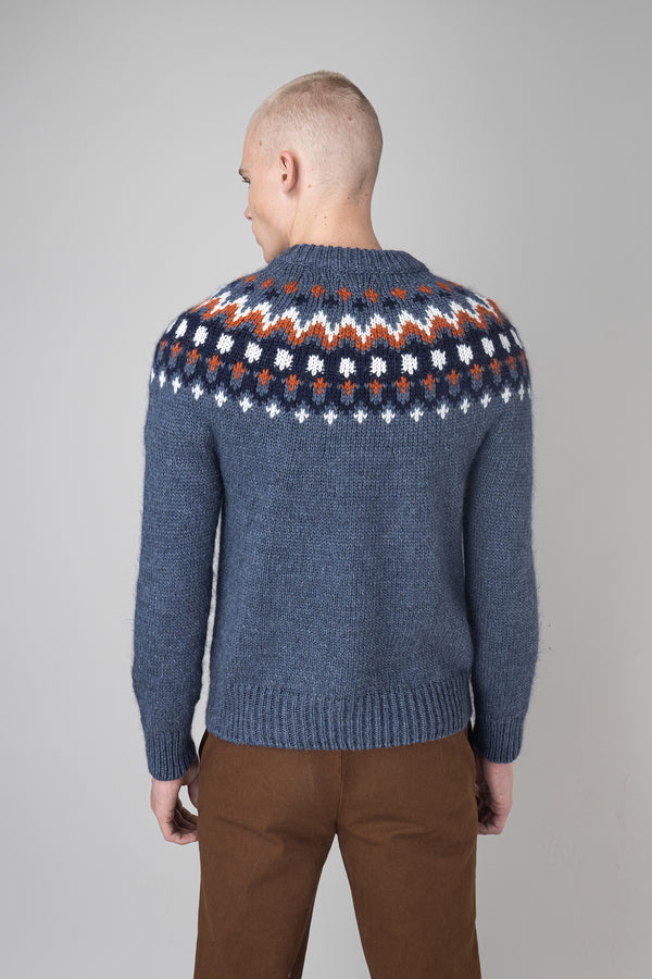 Load image into Gallery viewer, Fálki Wool Sweater — Blue