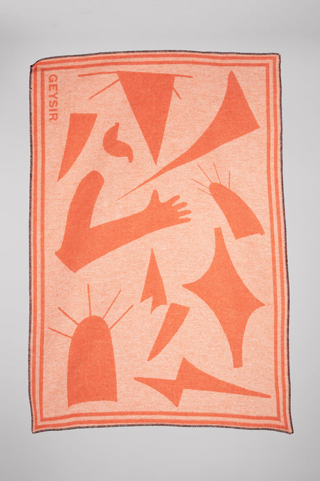Form Icelandic Wool Blanket — Coral & White