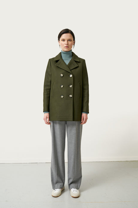 Alda Wool Coat — Olive