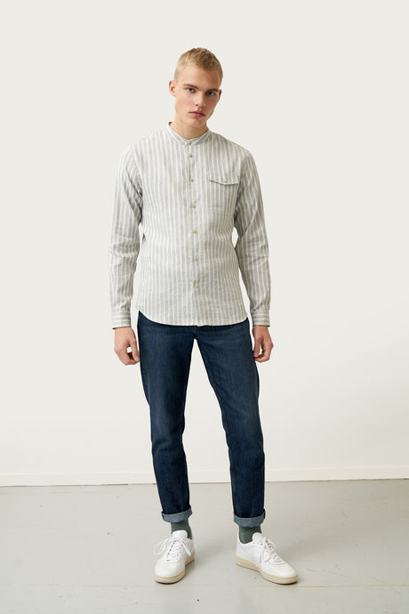 Breki Linen Shirt — Grey Stripes