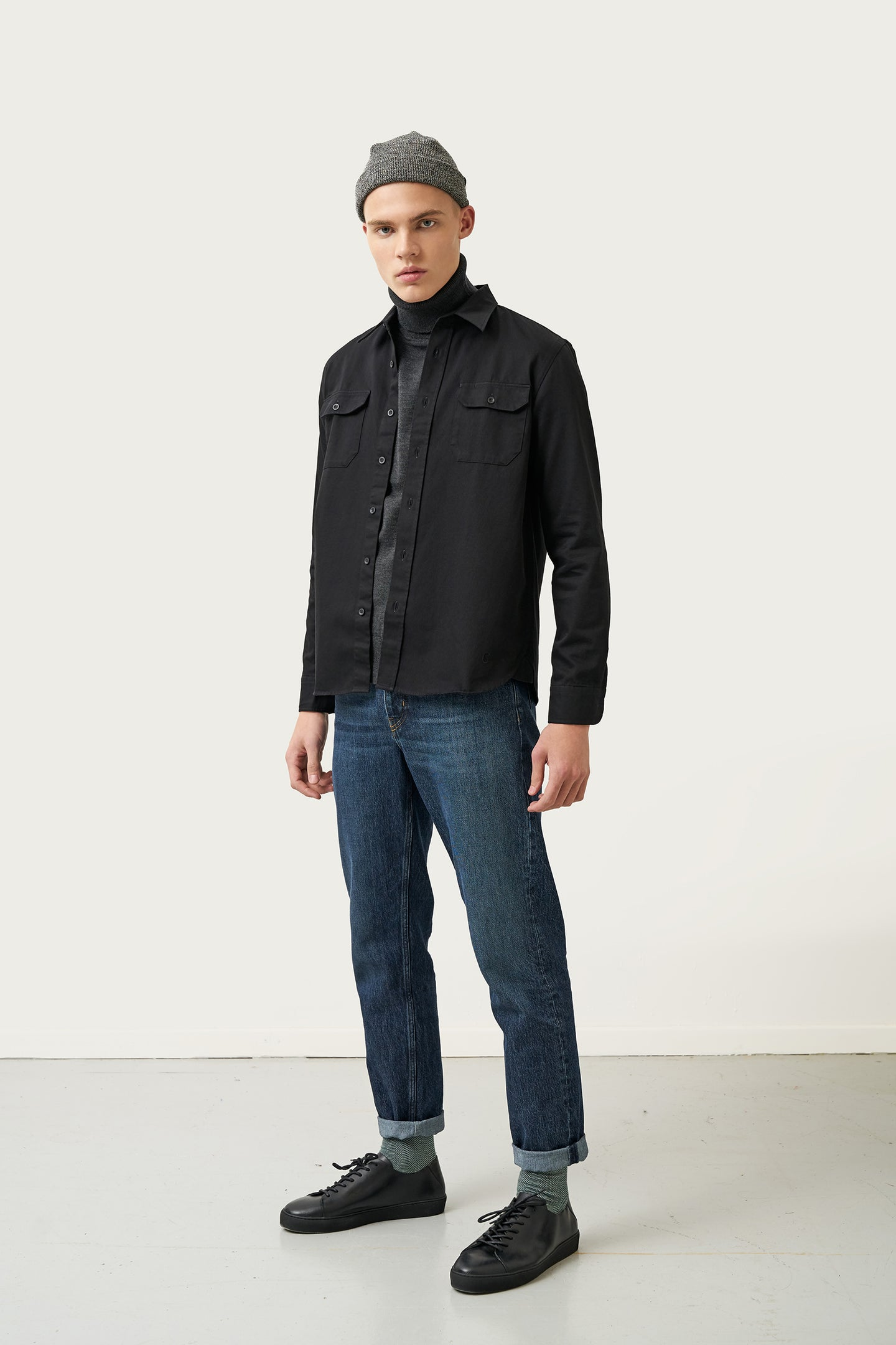 Bergur — Black Cotton Shirt